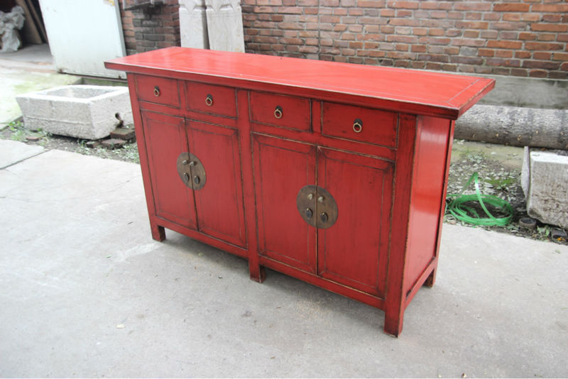 Solide Altholz Wohnzimmer Schrank Rot Sideboard