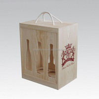 customized New design unfinished natural color pine wine wood boxes wholesale supply in shanghai of China
