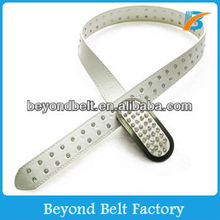 Women's Fashion White Color PU Leather Stone Belt with Plain Buckle