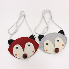 hot sale kids non-woven fox coin case, baby decorative animal style bag