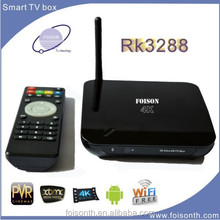 The Foisontech hot selling Smart TV Box with RK3288 Support H.265 and 4K