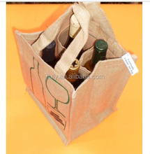 Promotional Fashion cheap eco-friendly tote handle jute wine bag with 4 Bottle