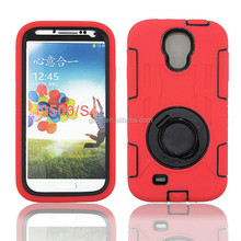 High impact rugged hard bumper PC+Silicone hybrid defender case for Samsung Galaxy S4 i9500 with rotate kickstand