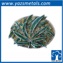 customize belt buckles, custom marijuana leaf with glitter belt buckles