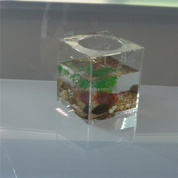 Clear fashion design cubic acrylic fish tank with magnets