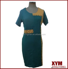 Old women short sleeves slim fit cotton dresses with hot fixs