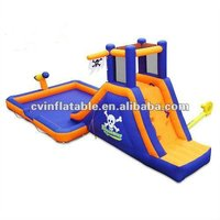 exciting cheap inflatable pirate flag ship wet dry water slide with climbing and pool for kids