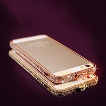 2015 For Iphone 5 Case With 3d Fowers, Bling Cell Phone Case For Iphone 5,Metal Bumper Case For Iphone 5s