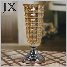 2015 new product bling glass vase with metal base for wedding decoration