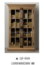 Western country solid wood frame office two door movable book shelf/kindergarten bookshelf