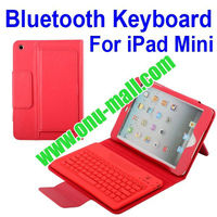 Lichee Pattern Chargeable Bluetooth Keyboard Leather Flip Case For iPad Mini with Holder (Red)