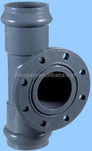 250 Pvc double socket reducing tee with flange branch