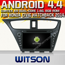 WITSON Android 4.4 FOR HONDA CIVIC HATCHBACK CAR RADIO DVD GPS 2014 HD 3G Wifi Multi-touch 3D UI 1080P HD VIDEO