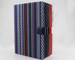 stripes changing color tablet leather case with elastic belt for apple iPad 2 3 4 ipad air ipad mini