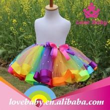 Niñas venta al por mayor mano de colores del arco iris de la falda del tutú