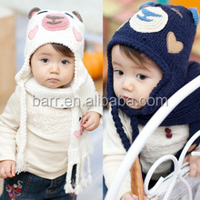 Fashion prince style 6 colors children baby winter bear handwork weave scarf cap and hat