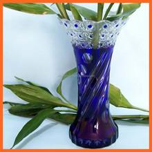 Wholesale elegant colored cylinder glass vase dark blue vase for home wedding decoration