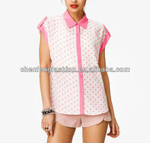 CHEFON Button Short Sleeve Neon Pink Polka Dot Shirt CB0546