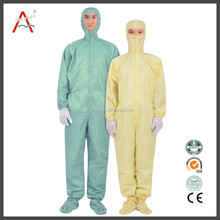 yellow/white/blue nonwoven fabric clean room jumpsuit esd overall