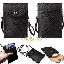 candy color leather cover case with shoulder/neck strap for samsung galaxy s6 edge