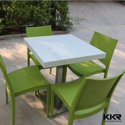 solid surface stone fast food 70x70 dining table for 4 people