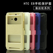 New design window view flip /Leather cellphone case for htcD610