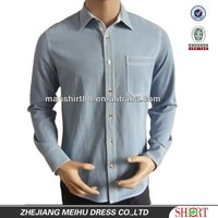 Light blue100%Pure Cotton Washed Denim/Retro Cowboy Shirt for men with Printed collar