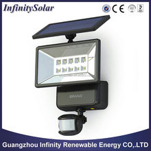 New Black Solar Powered Motion Sensor Security Flood light 10 LEDs