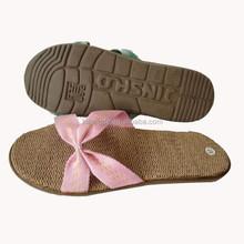 Wholesale modern summer straw lady slipper line cotton lady flip flops