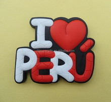 I love Peru rubber PVC 3D fridge magnets, Soft PVC fridge magnet custom