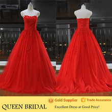 Newest Real Sample Lace Appliqued Ball Gown Red Wedding Dresses 2015 China