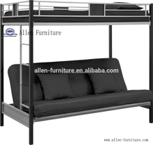Top selling America design cheap twin over full size metal bunk sofa bed, black
