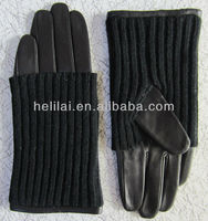 women black Leather Gloves with knitted wool