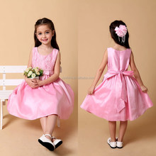 Simple Design Girls Sleeveless Pink Satin Dress Wedding Party Dresses For Kids Bridesmaid