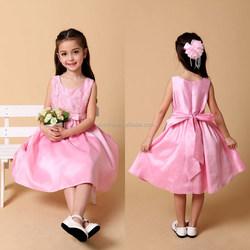 Simple Design Girls Sleeveless Pink Satin Dress Wedding Party Dresses For Kids Bridesmaid