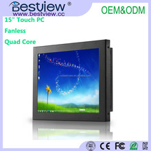 Bestview Fanless Quad Core Embedded PC 15 inch Industrial touch panel PC All in one PC
