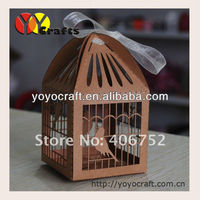 """6*6cm kraft paper laser cut """"bird cage""""wedding boxes decoration Indian Wedding souvenirs box with ribbon from YOYO crafts"""