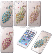 Luxury Peacock Crystal Clear Transparent Diamond Bling Back Cover Case for Apple iPhone 6