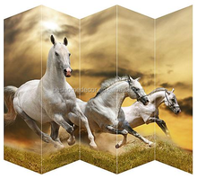5 pieces running horse canvas screens foldable wildlife room dividers home furniture