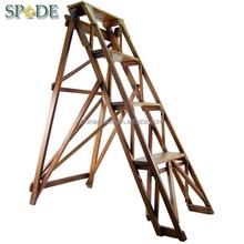 Custom vintage store folding wooden step ladder