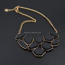 fashion 18 K gold plated irregular geometric crystal statement necklace jewelry