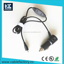OEM/ODM input 12~24V charger cable for car rapid dual usb car chargers with micro spring cable output 5V