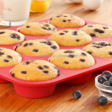 Alibaba Red non-stick heat resistant silicone muffin cake pan