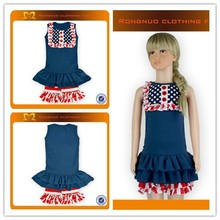 Summer New styles Children Boutique Set mazarine tops + red strips ruffle shorts for Toddler Gilrs