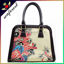 ladies elegant flower printed canvas tote bag,zipper cotton canvas bags,canvas handbags