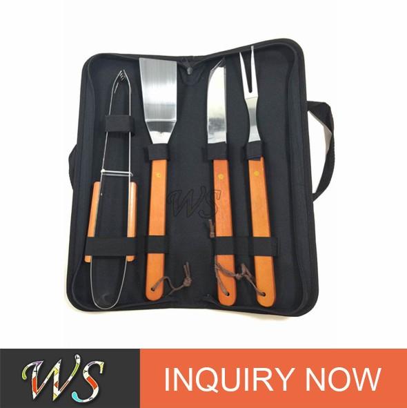 WS BQ10 ferramenta do bbq do aço Inoxidável conjunto com a caixa de transporte de plástico/