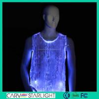 2015 hot sale fashion fiber optic led lighted men's sexy vests