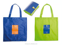 colorful 600d polyester foldable shopping bag with button