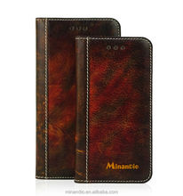 Flip leather phone cases with card slots for iphone 6 plus covers