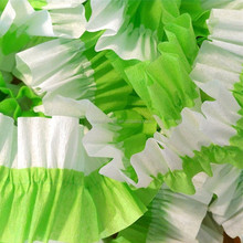 36 Feet Green and white Ruffled Crepe Paper Streamers Party Decoration - Craft and Party Supplies